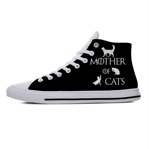 Game of Thrones Mother of Cats Funny Vogue Cute Casual Canvas Shoes High Top Lightweight Breathable 2