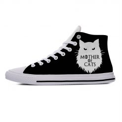 Game of Thrones Mother of Cats Funny Vogue Cute Casual Canvas Shoes High Top Lightweight Breathable