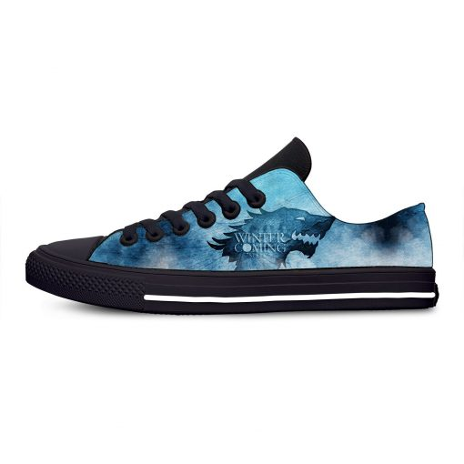 Game of Thrones Stark winter is coming Fashion Casual Canvas Shoes Low Top Lightweight Breathable 3D 1