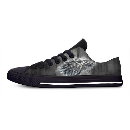 Game of Thrones Stark winter is coming Fashion Casual Canvas Shoes Low Top Lightweight Breathable 3D 3