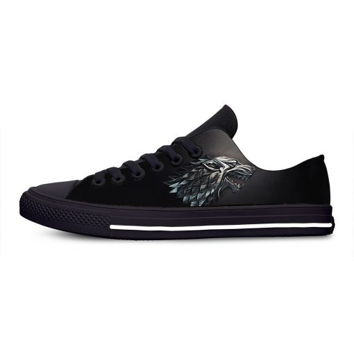 Game of Thrones Stark winter is coming Fashion Casual Canvas Shoes Low Top Lightweight Breathable 3D 4
