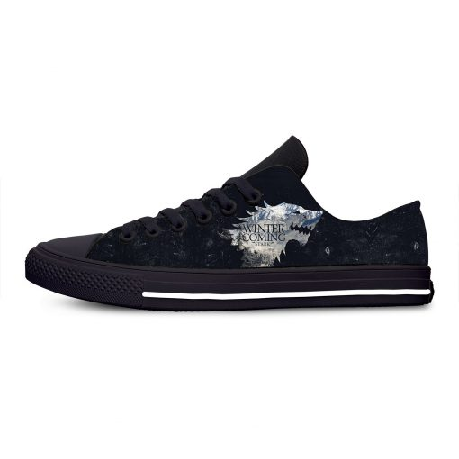 Game of Thrones Stark winter is coming Fashion Casual Canvas Shoes Low Top Lightweight Breathable 3D