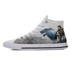 Game of Thrones Stark winter is coming Popular Casual Canvas Shoes High Top Lightweight Breathable 3D 1
