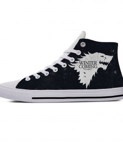Game of Thrones Stark winter is coming Popular Casual Canvas Shoes High Top Lightweight Breathable 3D 2