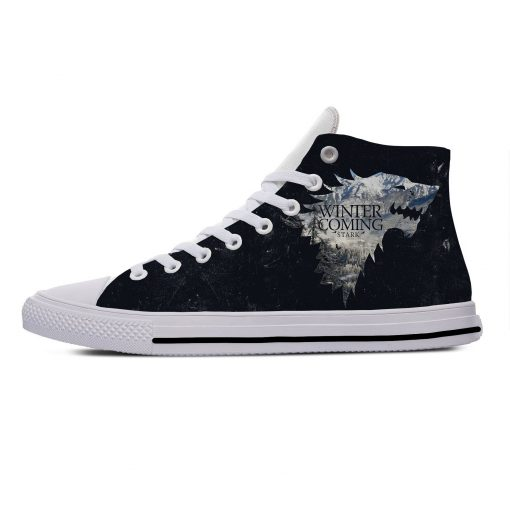 Game of Thrones Stark winter is coming Popular Casual Canvas Shoes High Top Lightweight Breathable 3D 3