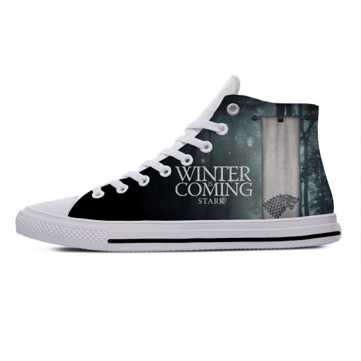 Game of Thrones Stark winter is coming Popular Casual Canvas Shoes High Top Lightweight Breathable 3D 4