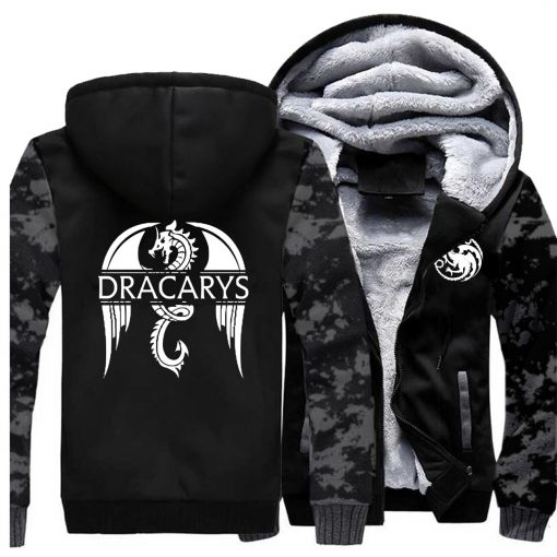 Game of Thrones men Hoodies 2020 Autumn Winter Dracarys Dragon Hooded Camouflage Plus Velvet Thicken Sweatshirts 2