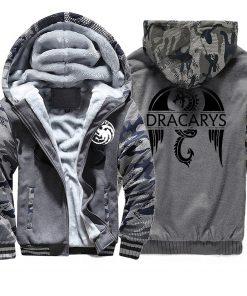 Game of Thrones men Hoodies 2020 Autumn Winter Dracarys Dragon Hooded Camouflage Plus Velvet Thicken Sweatshirts 3
