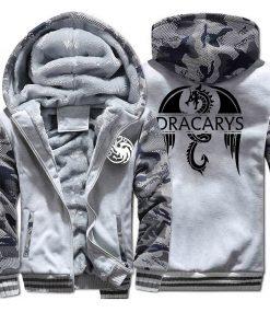 Game of Thrones men Hoodies 2020 Autumn Winter Dracarys Dragon Hooded Camouflage Plus Velvet Thicken Sweatshirts 4