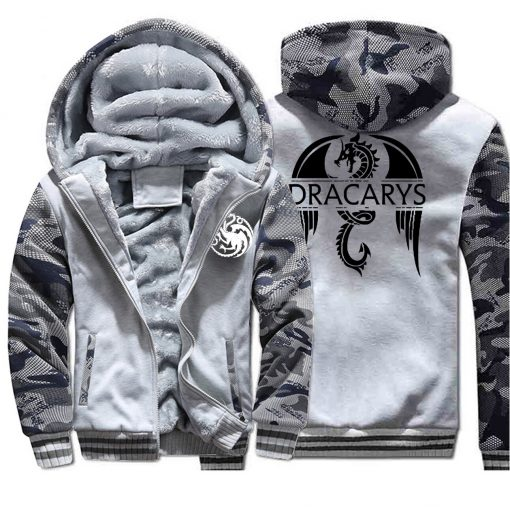 Game of Thrones men Hoodies 2020 Autumn Winter Dracarys Dragon Hooded Camouflage Plus Velvet Thicken Sweatshirts 4