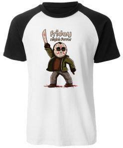 Gothic Men s T Shirt Friday the 13th Horror Prison Raglan TShirt Cotton Jason Voorhees T