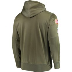 Green Bay Sweatshirt Packers Salute to Service Sideline Therma Performance Pullover American football Hoodie Olive 1