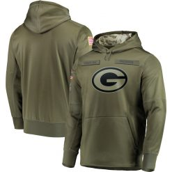 Green Bay Sweatshirt Packers Salute to Service Sideline Therma Performance Pullover American football Hoodie Olive