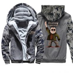 Horrorr Prison Friday The 13th Print Hoodies Men 2019 Autumn Winter Male Thick Camouflage Jackets Warm 1