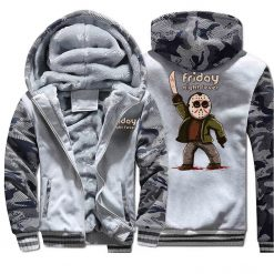 Horrorr Prison Friday The 13th Print Hoodies Men 2019 Autumn Winter Male Thick Camouflage Jackets Warm 2