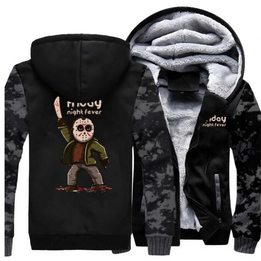 Horrorr Prison Friday The 13th Print Hoodies Men 2019 Autumn Winter Male Thick Camouflage Jackets Warm 3