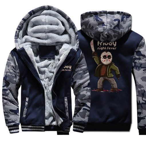 Horrorr Prison Friday The 13th Print Hoodies Men 2019 Autumn Winter Male Thick Camouflage Jackets Warm