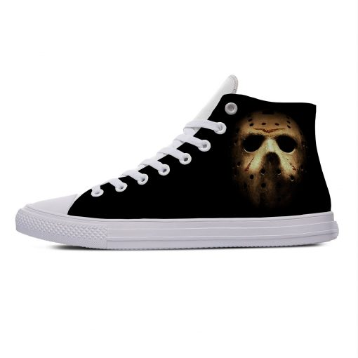 Hot Jason Voorhees Friday the 13th Horror Cool Casual Canvas Shoes High Top Lightweight Breathable 3D 1