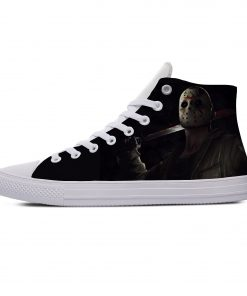 Hot Jason Voorhees Friday the 13th Horror Cool Casual Canvas Shoes High Top Lightweight Breathable 3D