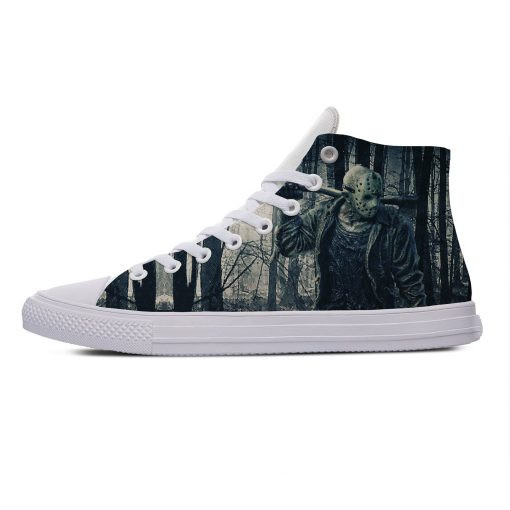 Hot Jason Voorhees Friday the 13th Horror Cool Casual Canvas Shoes High Top Lightweight Breathable 3D 3