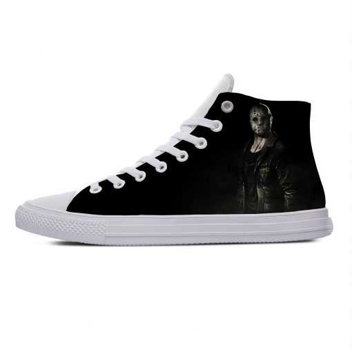 Hot Jason Voorhees Friday the 13th Horror Cool Casual Canvas Shoes High Top Lightweight Breathable 3D 4