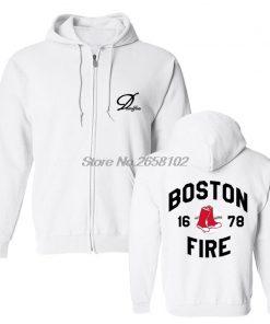 Hot Sale Men Cotton Fashion New Boston Fire Fighter Fire Department Black Sweatshirt Hip Hop Tops 2