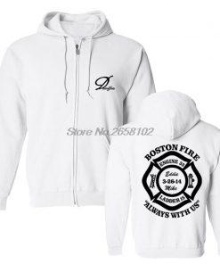 Hot Sale Men Cotton Fashion New Boston Fire Fighter Fire Department Black Sweatshirt Hip Hop Tops 3