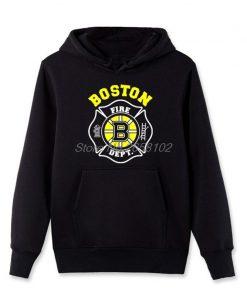 Hot Sale Men Cotton Fashion New Boston Fire Fighter Fire Department Black Sweatshirt Hip Hop Tops 4