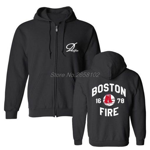 Hot Sale Men Cotton Fashion New Boston Fire Fighter Fire Department Black Sweatshirt Hip Hop Tops