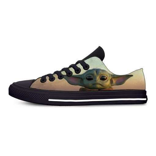 Hot Star Wars Baby Yoda Mandalorian Fashion Funny Casual Canvas Shoes Low Top Lightweight Breathable 3D 1