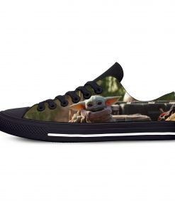 Hot Star Wars Baby Yoda Mandalorian Fashion Funny Casual Canvas Shoes Low Top Lightweight Breathable 3D 4