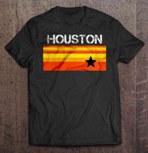Houston Baseball Throwback Astro Vintage Stripes Version2 Tshirts
