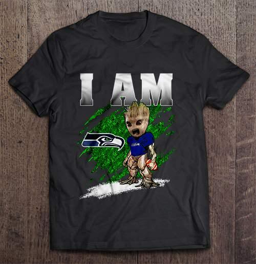 I Am Seattle Streetwear Harajuku 100 Cotton Men S Tshirt Seahawks Groot Tshirts