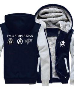 I m A Simple Man Star Wars Coat Fashion Thick Male Marvel Avengers Jacket Winter Fleece 2