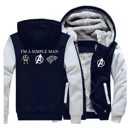I m A Simple Man Star Wars Coat Fashion Thick Male Marvel Avengers Jacket Winter Fleece 2