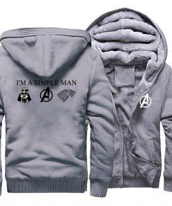 I m A Simple Man Star Wars Coat Fashion Thick Male Marvel Avengers Jacket Winter Fleece