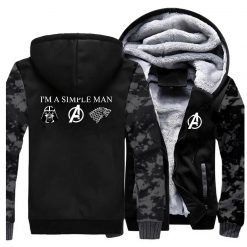 I m A Simple Man Star Wars Coat Fashion Thick Male Marvel Avengers Jacket Winter Fleece 3