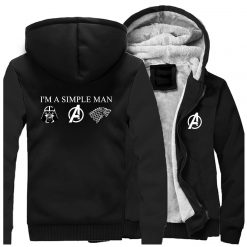 I m A Simple Man Star Wars Coat Fashion Thick Male Marvel Avengers Jacket Winter Fleece 4