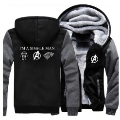 I m A Simple Man Star Wars Coat Fashion Thick Male Marvel Avengers Jacket Winter Fleece 5