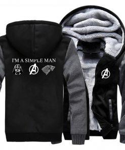 I m A Simple Man Star Wars Coat Fashion Thick Male Marvel Avengers Jacket Winter Fleece 5