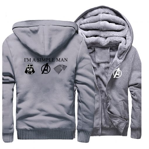 I m A Simple Man Star Wars Coat Fashion Thick Male Marvel Avengers Jacket Winter Fleece