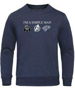 I m a simple man love star wars avengers game of thrones Men Hoodies Sweatshirt Harajuku 3