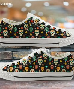 INSTANTARTS Day Of The Dead Canvas Shoes Women Men Low Top Casual Seankers Skull Print Fashion 1