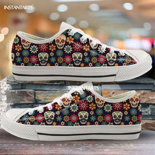 INSTANTARTS Day Of The Dead Canvas Shoes Women Men Low Top Casual Seankers Skull Print Fashion