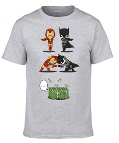 Iron Man Tony Stark Tshirt Men Batman Bruce Wayne T shirt Summer Tops Cotton Fusion Money 2