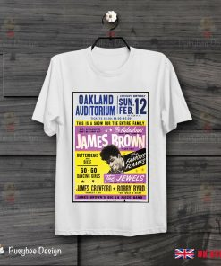 James Brown Oakland Auditorium Poster Soul Funk Cool Vintage T Shirt B249
