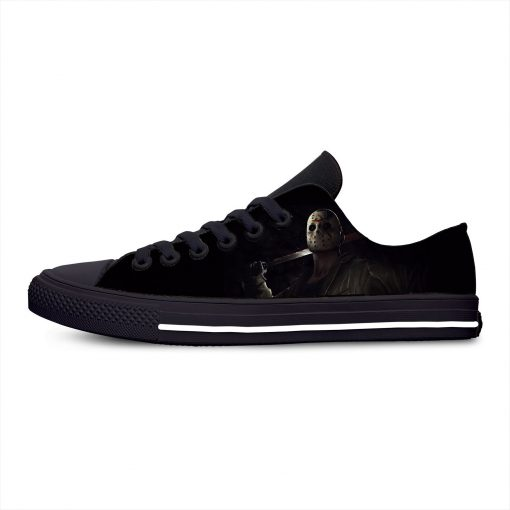 Jason Voorhees Friday the 13th Horror Hot Cool Casual Canvas Shoes Low Top Lightweight Breathable 3D 1
