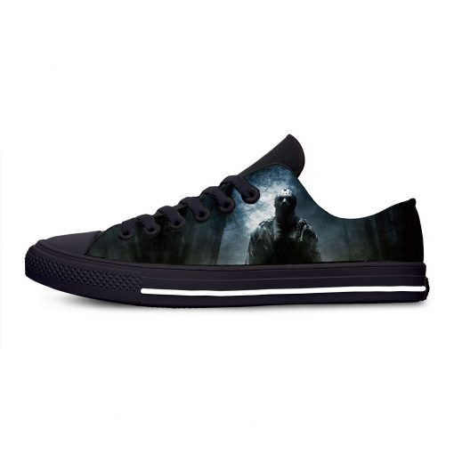 Jason Voorhees Friday the 13th Horror Hot Cool Casual Canvas Shoes Low Top Lightweight Breathable 3D 3