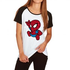 Kawii Small Spiderman Print T shirt Women Cartoon Hero Funny Tshirt Femme Short Sleeve Cotton T