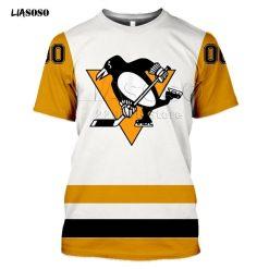 LIASOSO 2020 New 3D Print Animal Skating Penguin Print T shirt Pittsburgh Harajuku Short Sleeve Hockey 1